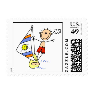 Parasailing Stick Figure Postage Stamp