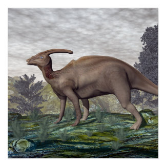 Parasaurolophus dinosaur - 3D render Poster