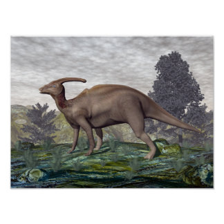 Parasaurolophus dinosaur among gingko trees poster