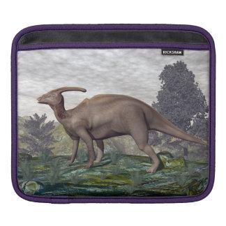 Parasaurolophus dinosaur among gingko trees sleeve for iPads