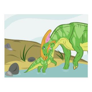 Parasaurolophus Mom and Baby Postcard