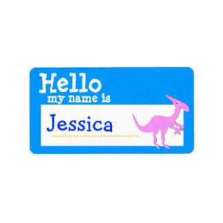 Parasaurolophus rosado hola mi nombre es azul de l etiquetas de dirección
