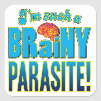 Parasite Brainy Brain Square Stickers