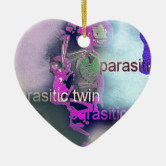 Parasitic CD Cover.(purple) Double-Sided Heart Ceramic Christmas Ornament