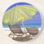 Parasol de playa, Ábaco, Bahamas Posavasos Cerveza