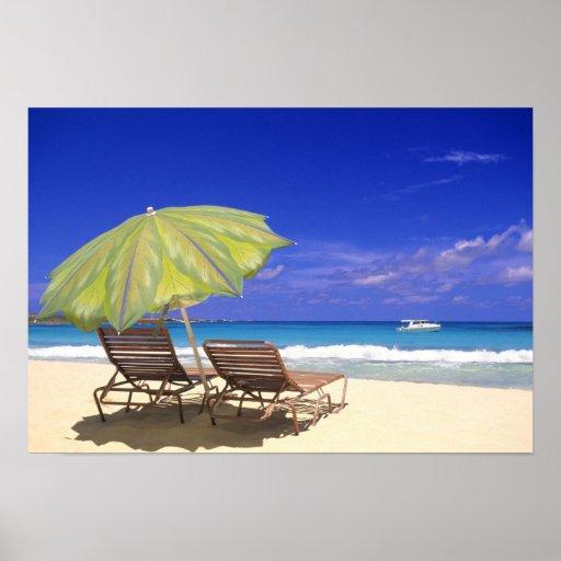 Parasol de playa, Ábaco, Bahamas Póster