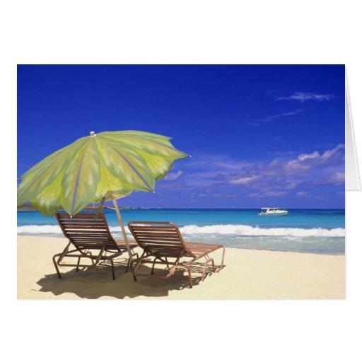 Parasol de playa, Ábaco, Bahamas Tarjeton