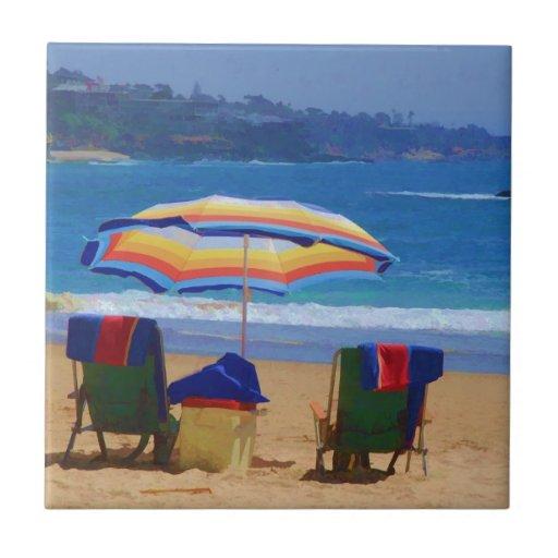 Parasol de playa colorido azulejo cuadrado pequeño