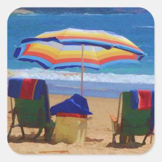 Parasol de playa colorido pegatina cuadrada
