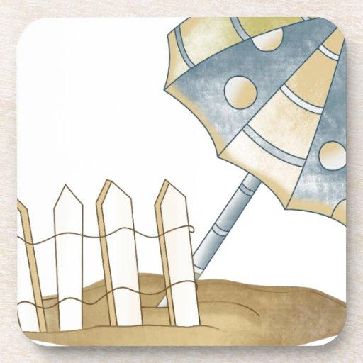 parasol de playa posavasos