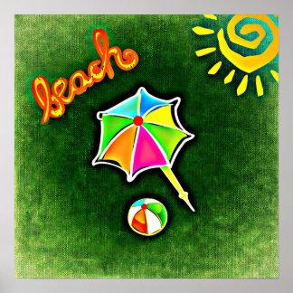 Parasol de playa y bola de las vacaciones de póster