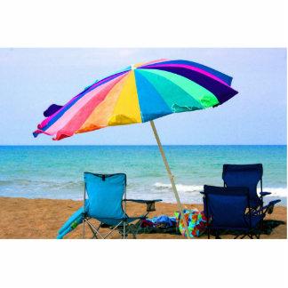 Parasol de playa y sillas coloridos en la Florida Escultura Fotografica