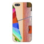 Parasol de playa y sillas invertidos coloridos en  iPhone 5 protector