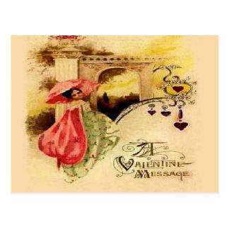 Parasol del rosa del mensaje de la tarjeta del día postales
