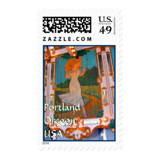 Parasol on the Carousel ~ Oaks Park Postage Stamp