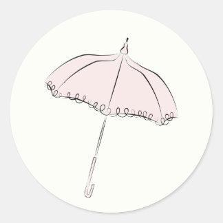 Parasol rosado etiqueta