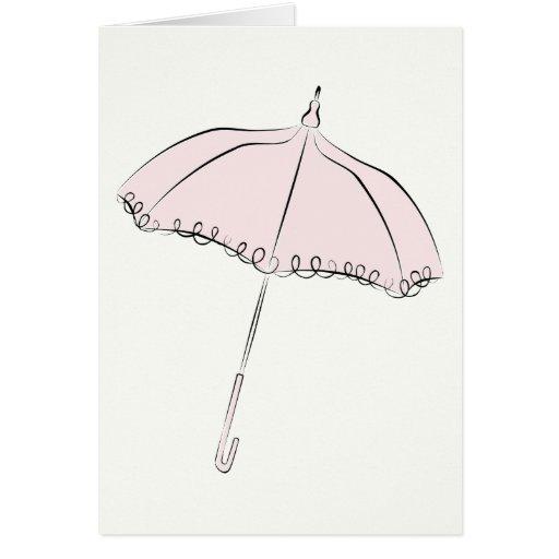 Parasol rosado tarjeta de felicitación