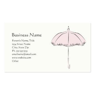 Parasol rosado tarjetas de visita