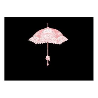 Parasol rosado tarjetas de visita grandes