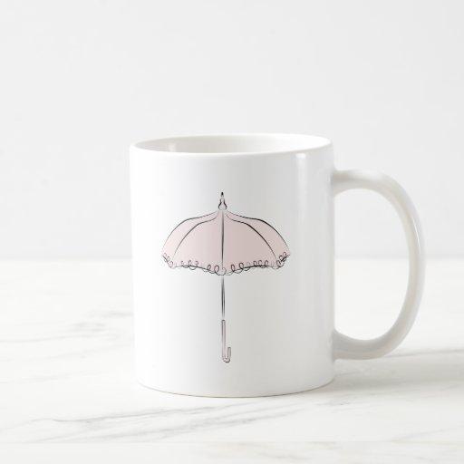 Parasol rosado tazas