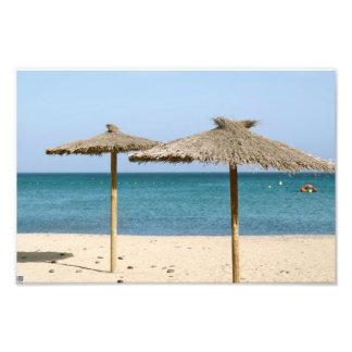 Parasoles de playa de la paja cojinete