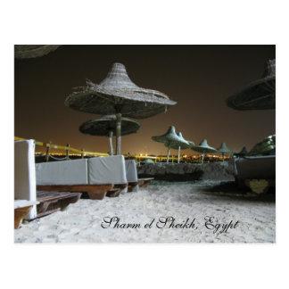 Parasoles en la noche en Sharm el Sheikh, Egipto Postal