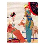 Parasoles y galgo de las mujeres postales