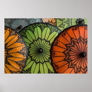 parasols for sale, bagan, myanmar poster