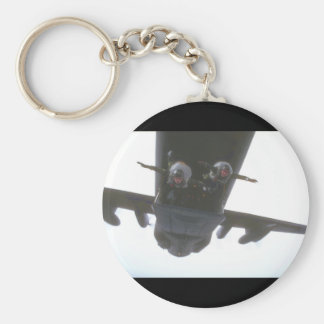 Paratroopers exiting door_Military Aircraft Basic Round Button Keychain