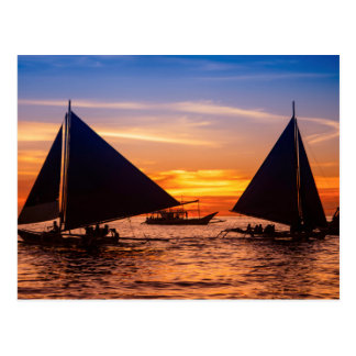 Paraw Sailing At Sunset |Phillipines Postcard