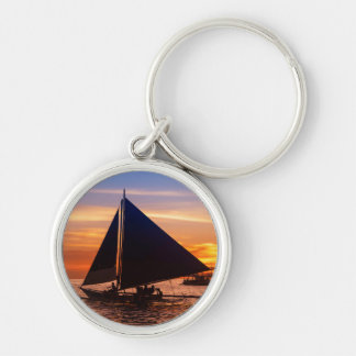 Paraw Sailing At Sunset |Phillipines Silver-Colored Round Keychain