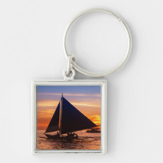 Paraw Sailing At Sunset |Phillipines Silver-Colored Square Keychain