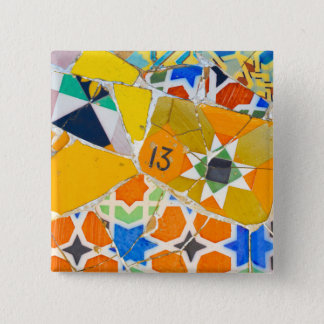 Parc Guell Ceramic Tiles in Barcelona Spain Pinback Button