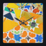 "Parc Guell Ceramic Tiles in Barcelona Spain Square Wall Clock<br><div class=""desc"">Parc Guell Ceramic Tiles in Barcelona Spain</div>"
