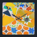 """Parc Guell Ceramic Tiles in Barcelona Spain Square Wall Clock<br><div class=""""desc"""">Parc Guell Ceramic Tiles in Barcelona Spain</div>"""