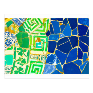 Parc Guell Green Tiles in Barcelona Spain Postcard