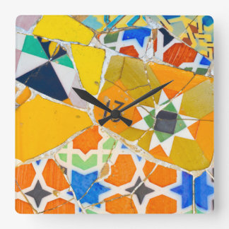 Parc Guell in Barcelona Spain Square Wall Clock