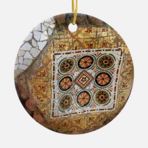 Parc Guell Mosaic Green and Orange Christmas Ornaments