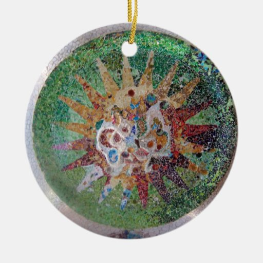 Parc Guell Mosaic Green Christmas Tree Ornaments