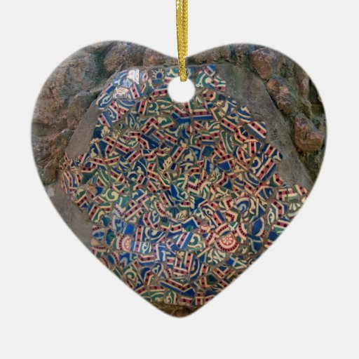 Parc Guell Mosaic Rainbow and Orange Heart Christmas Tree Ornaments