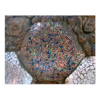 Parc Guell Rainbow Mosaic Postcard
