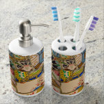 Parc Guell Tiles in Barcelona Spain Soap Dispenser & Toothbrush Holder