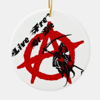 Parca de la anarquía adorno navideño redondo de cerámica