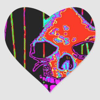 Parca sobre rojo de VALPYRA por Valpyra Pegatina En Forma De Corazón