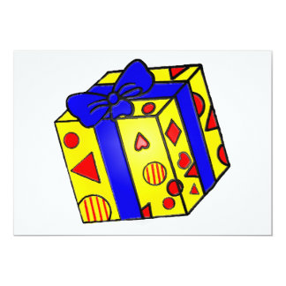 Parcel or Gift in Red and Yellow with Blue Ribbon Card