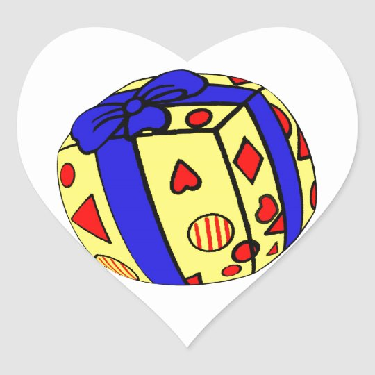 Parcel or Gift, Wrapped , Ribbon, Sphere Heart Sticker