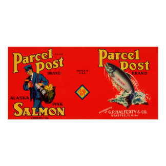 Parcel Post Brand Salmon Label- Seattle, WA Poster