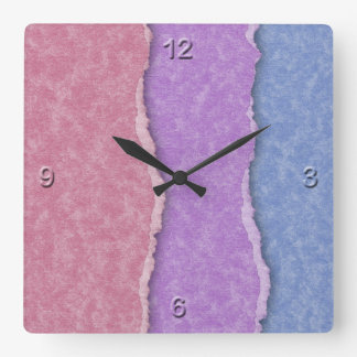 Parchment 3D Effect in Pink, Lavender, and Blue Square Wallclocks