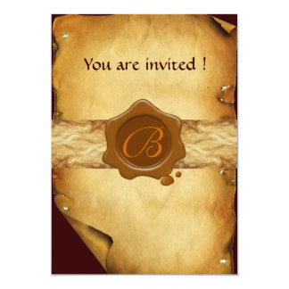 PARCHMENT AND BROWN WAX SEAL MONOGRAM 5X7 PAPER INVITATION CARD
