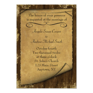 Parchment and Wood Look Invitation